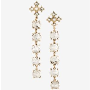 Express long rhinestone cross earrings